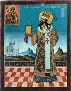 Свт Димитрий Ростовский перед Ватопедской иконой